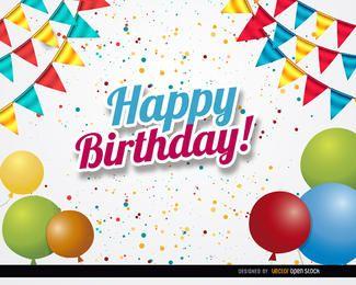 Balões de confetes de festa de aniversário
