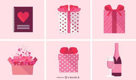 Paquete de iconos de San Valentín plana