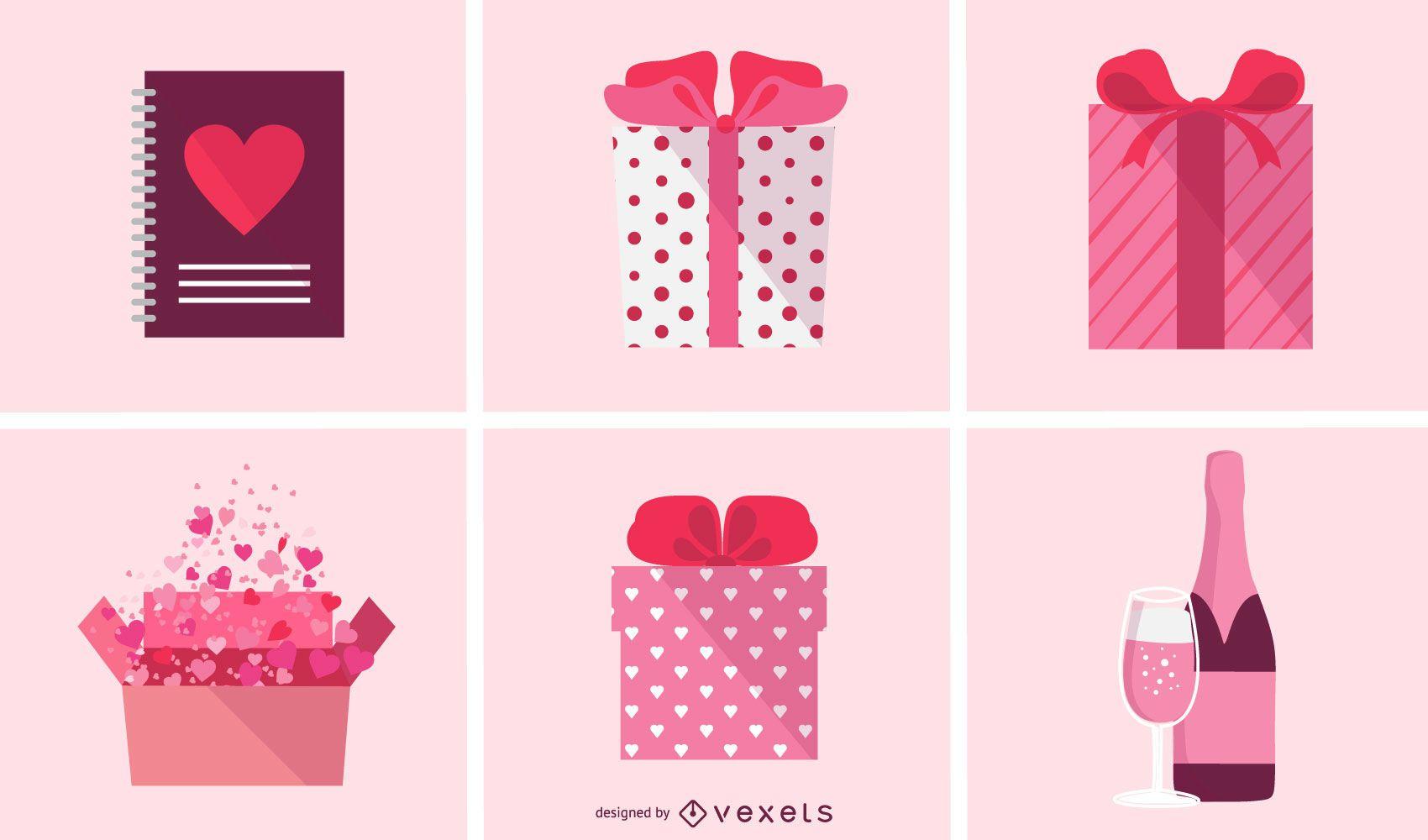 Paquete de iconos de San Valentín plano