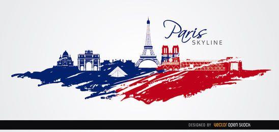 Paris cores da bandeira skyline fundo