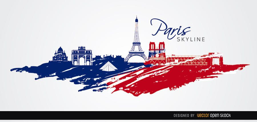 Paris skyline flag colors