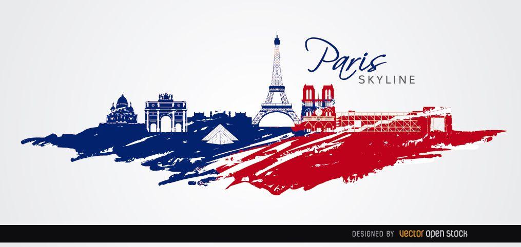 Paris skyline flag colors