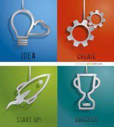 4 hängende Business-Designs aus Metall