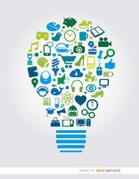 Elementos de creatividad dentro fondo bombilla