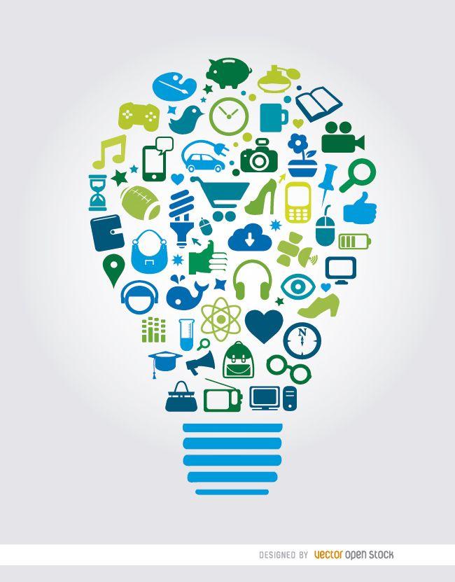 Creativity elements inside lightbulb