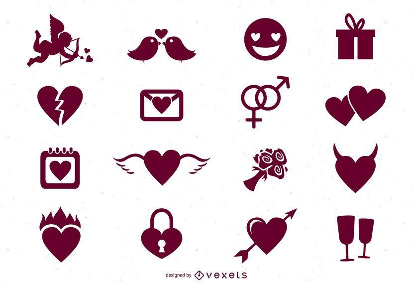 16 ícones de dia dos namorados mínimos