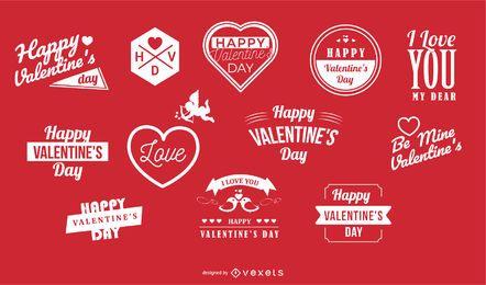 Paquete de etiquetas y tipografía de San Valentín