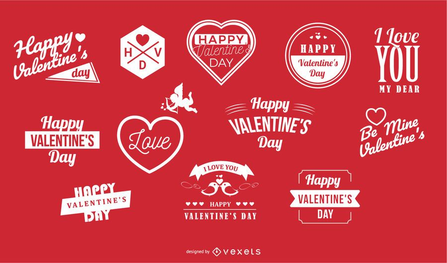 Valentines Typography & Labels Pack