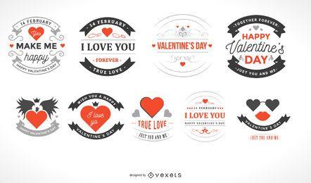 Hermoso paquete de etiquetas vintage de San Valentín