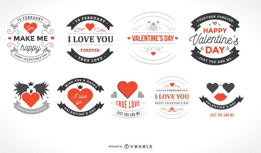 Hermoso paquete de etiquetas vintage de Valentine