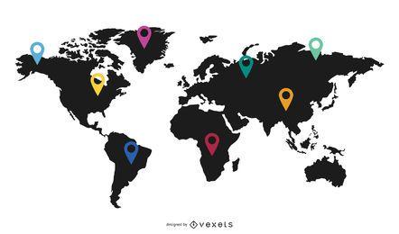 Mapa del mundo con marcadores planos