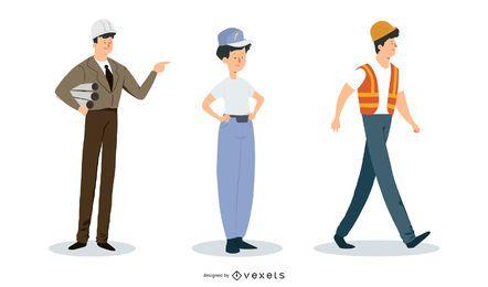 Constructor de construcción Ingeniero y electricista Personajes