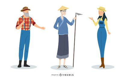 Men Woman Funky Farmer Characters