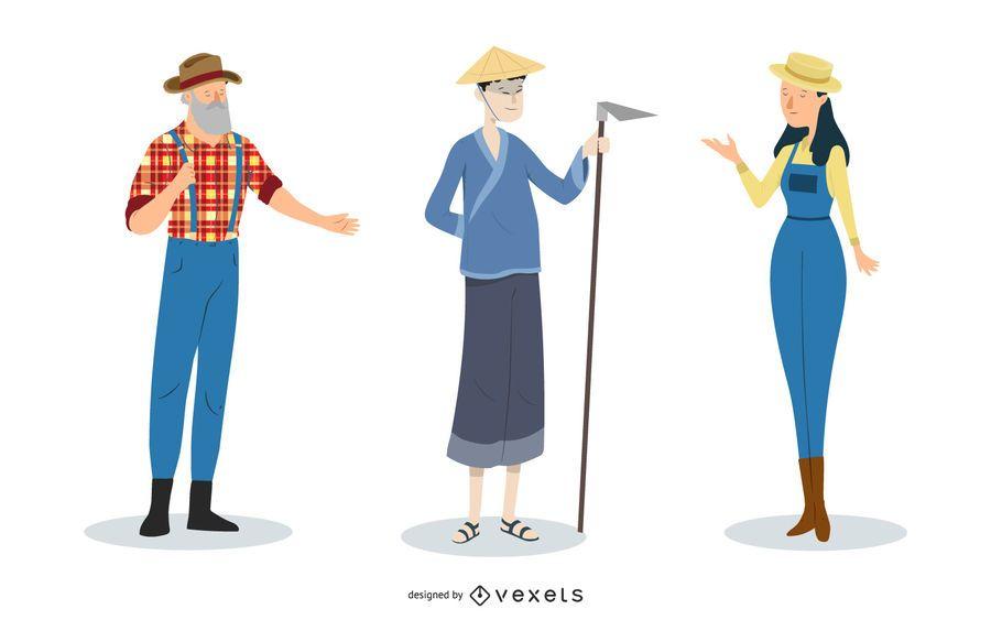 Personagens de agricultor funky de mulher de homens