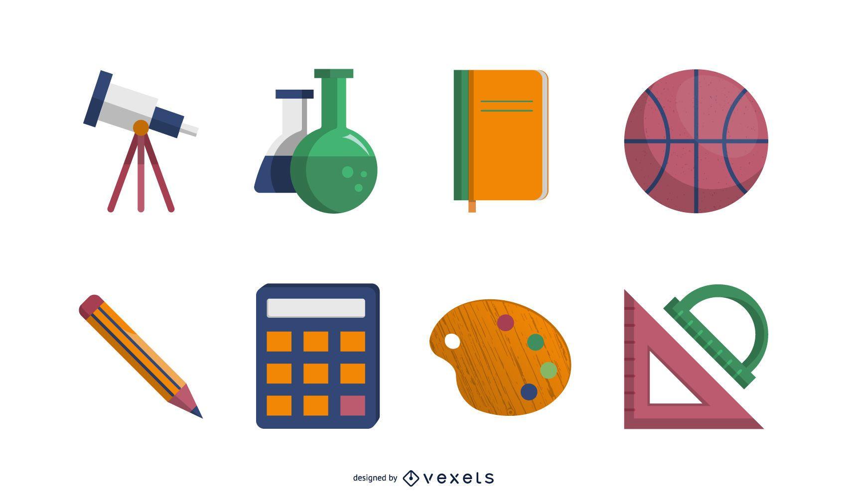 Paquete de iconos de educación realista brillante