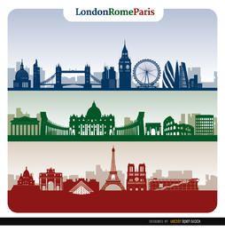 Banners do horizonte de Londres Roma Paris