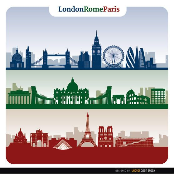 Banners de horizonte de Londres Roma Paris