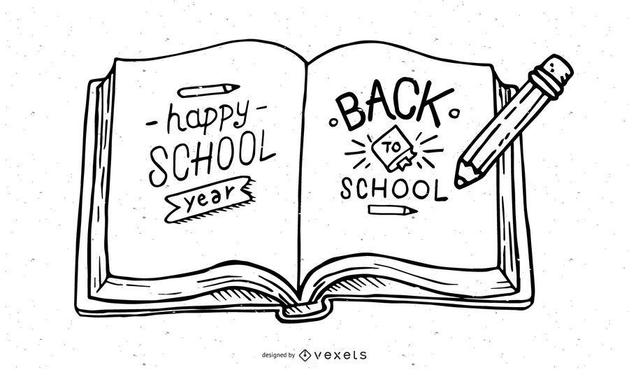 Esboço de lápis de volta à ilustração de escola