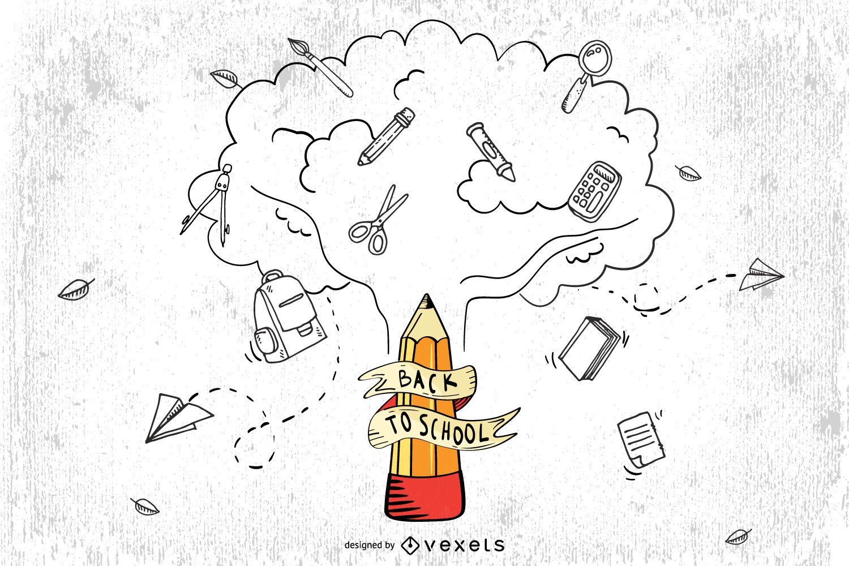 Árbol de lápiz con iconos de educación