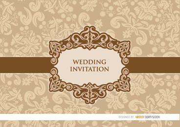 Invitación floral de la boda del melocotón suave