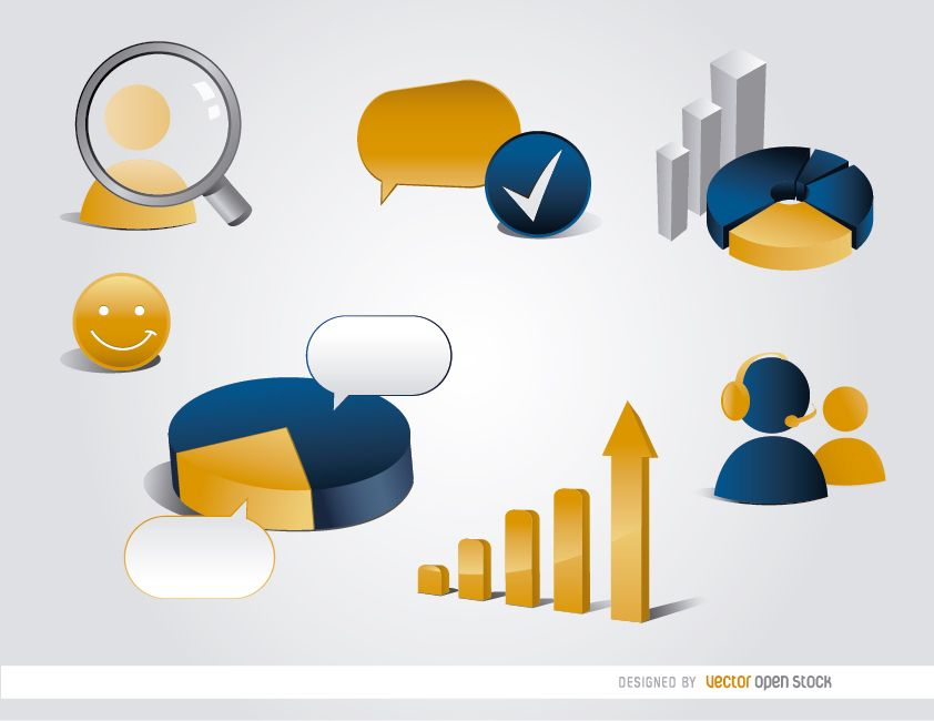 7 elementos 3D de estadísticas de infografía