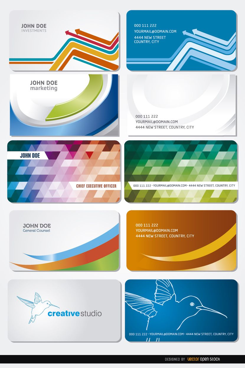 10 Curves polygons birds business cards - Vector download