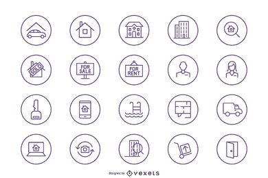 Silhueta de pacote de ícones imobiliários