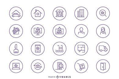 Silhueta do pacote de ícones imobiliários