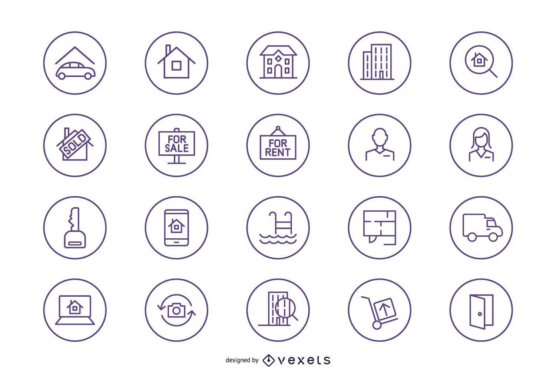 Silueta de paquete de iconos de bienes raíces