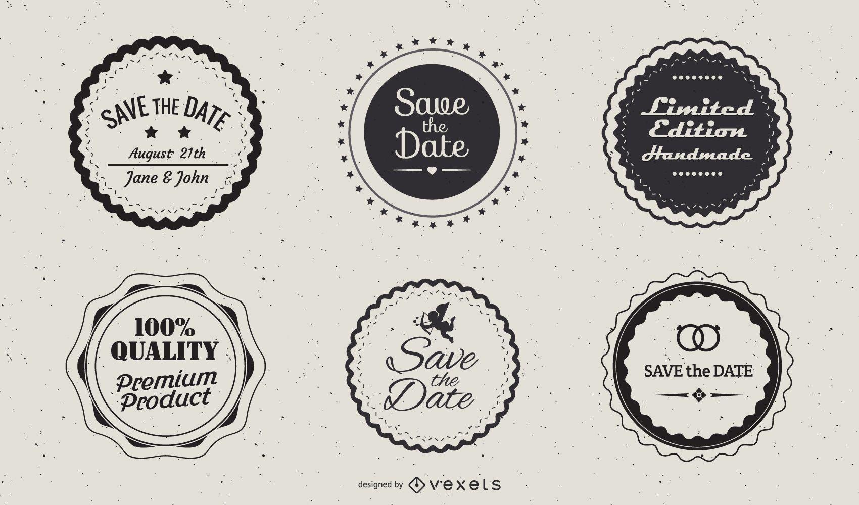 Plantilla de paquete de etiquetas circulares vintage