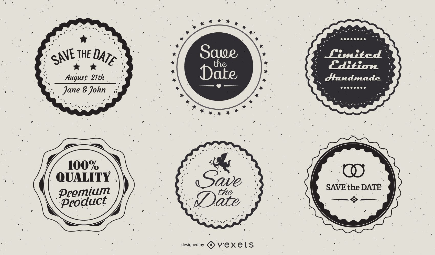 Vintage Circular Label Pack Template