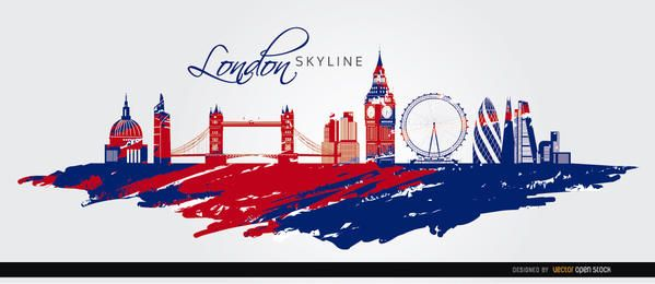 London Skyline gemalt Flagge