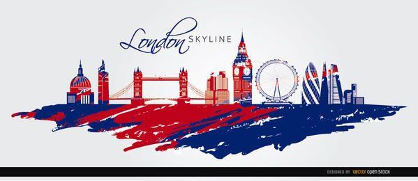 Skyline de Londres pintado fundo da bandeira