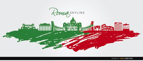 Rome skyline painted flag