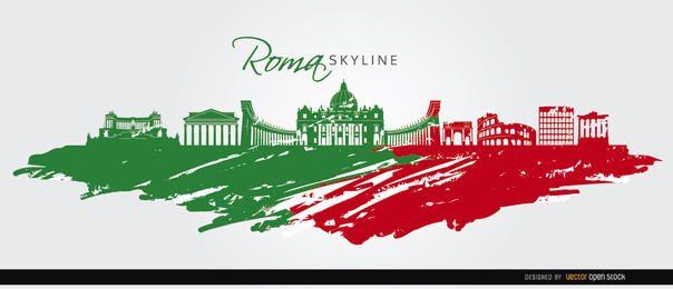 Skyline de Roma pintado bandeira