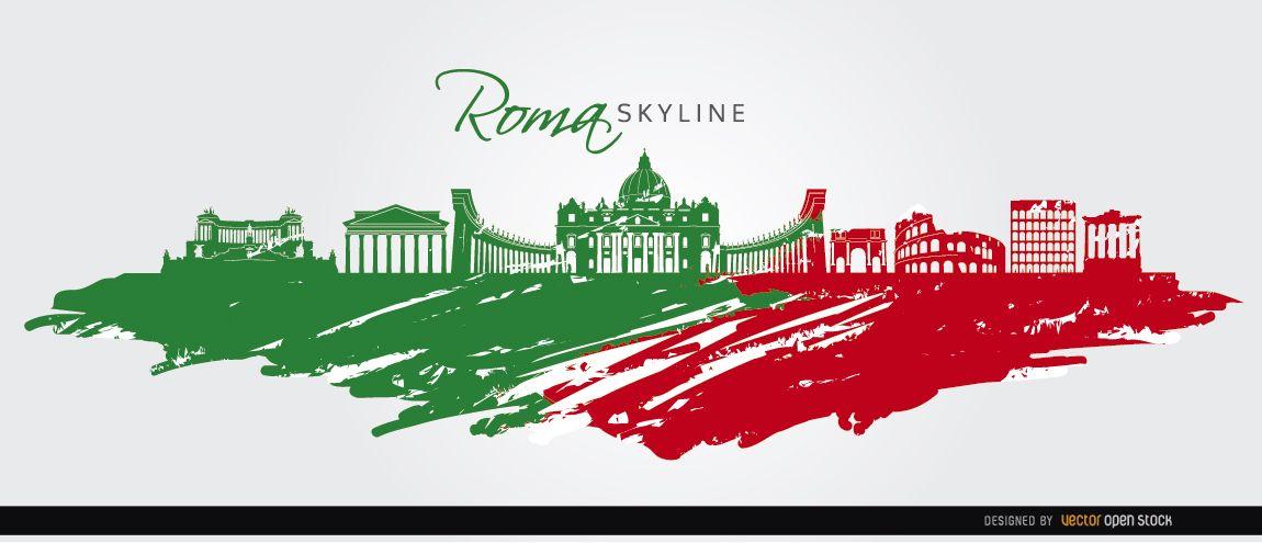 Bandera pintada del horizonte de Roma
