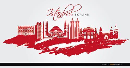 Monumentos de Estambul pintados de rojo