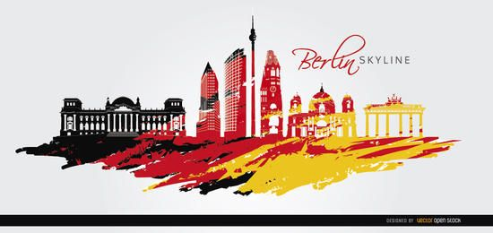 Bandera de horizonte de Berlín pintado de fondo