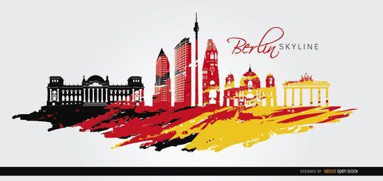 Gemalter Hintergrund der Berliner Skyline Flagge