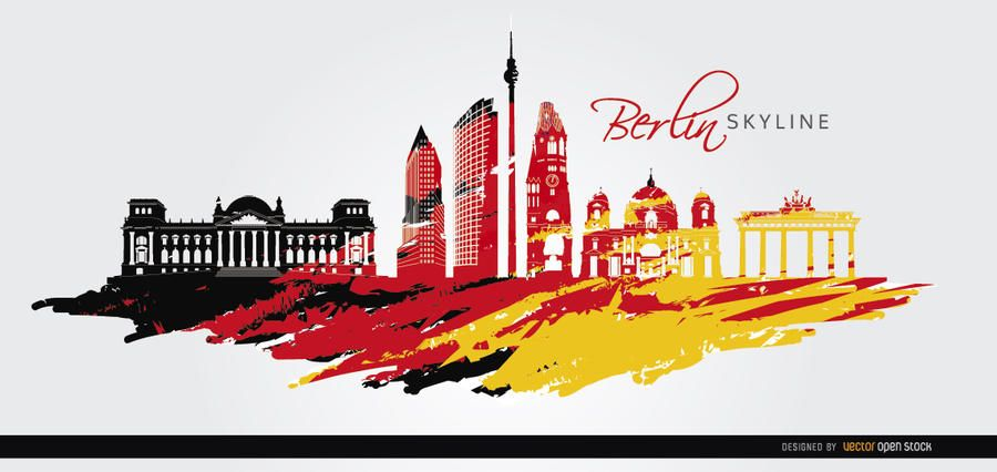 Berlin skyline flag painted background