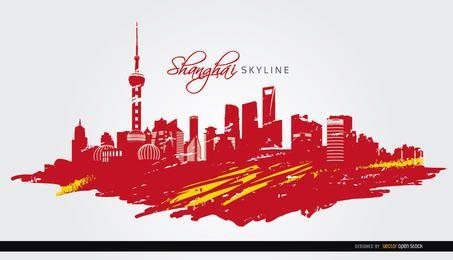 Shanghai Skyline Flagge gemalt