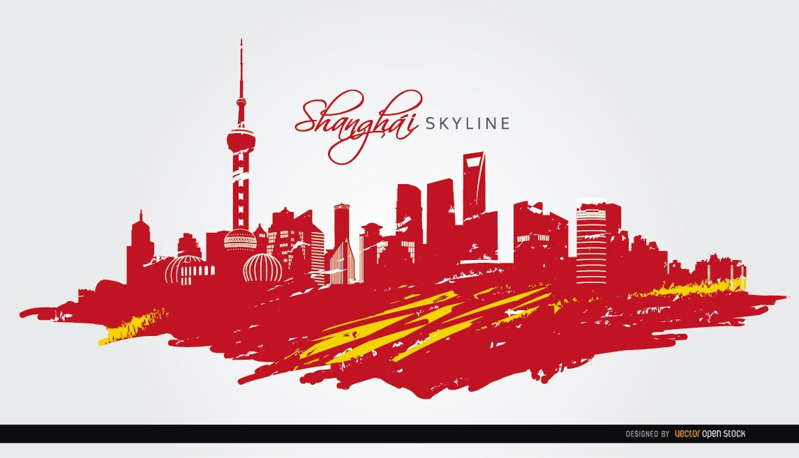 shanghai skyline flag painted vector download