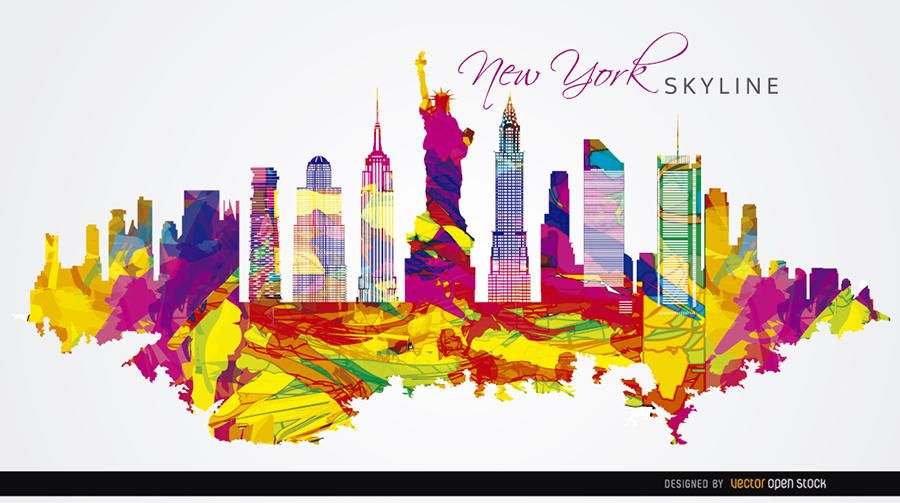 New York City colorido pintado