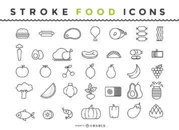 Contorno de pacote de ícones de comida