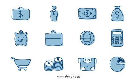 Pacote de ícones de negócios desenhados à mão
