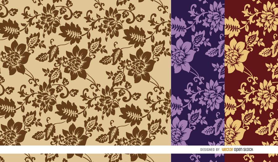 Brown flowers pattern background