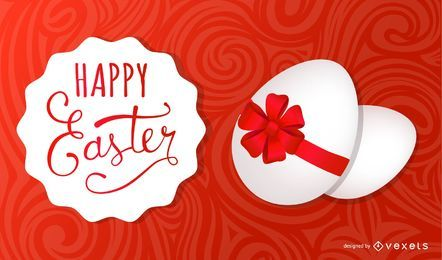 Tarjeta de Pascua con huevo envuelto en cinta