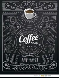 Cafetería doodle logo con adornos.