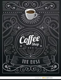 Logotipo do café com enfeites