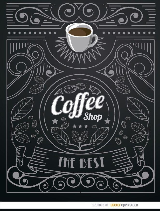 Coffee Shop Doodle Logo mit Ornamenten